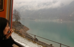 Speeding past a glacier-fed alpine lake.