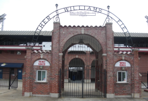 "Luther Williams Field today (note ""Peaches"" name missing from marquee)"