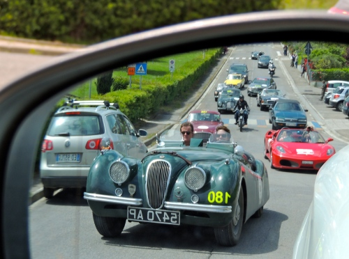 The view from my rearview mirror - the Mille Miglia is conducted for the most part on public roads that remain open to the public - creating some fabulous traffic jams!