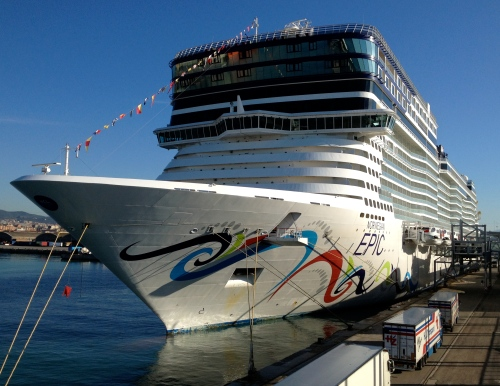 Norwegian Epic docked in Barcelona on May 1, 2013 (Jerry Garrett Photo)