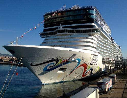 Norwegian Epic docked in Barcelona on May 1, 2013 (Jerry Garrett Photo)