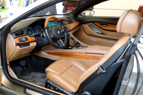 The interior of Pininfarina's BMW Gran Lusso Coupe, featuring rare kauri wood.