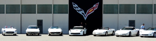 All seven generations of Corvette lined up for a photo shoot.