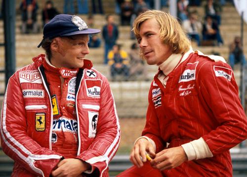 Rivals Niki Lauda and James Hunt.
