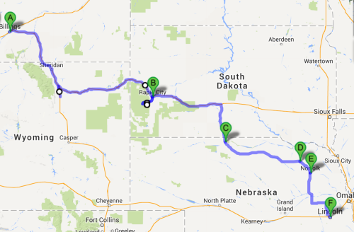 The route of Woody Grant; almost 1,000 miles, according to Google.