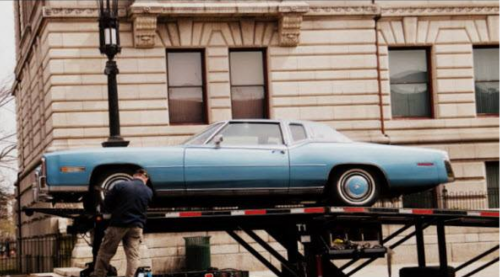 Irving's actual car being readied for its Hollywood moment.