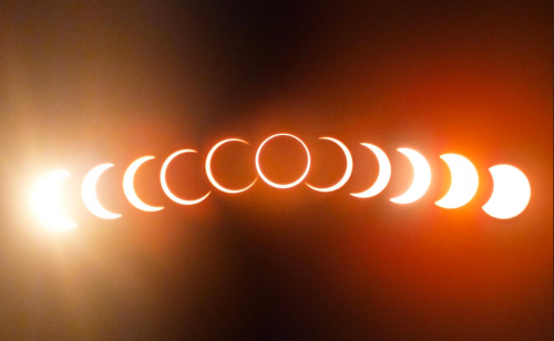 Time lapse of a rare Ring of Fire total eclipse of the Sun
