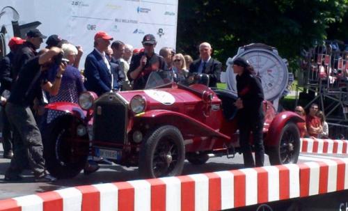 Giordano Mozzi & wife Stefania Biacca celebrate winning the 1000 Miglia 2014.
