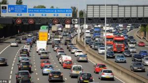 London's infamous motorway queues