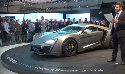 The 2014 Lykan Hypersport being being introduced at the 2013 Dubai auto show. (Shmee150)