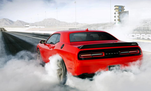 Quarter-mile commute: Dodge Hellcat at dragstrip.